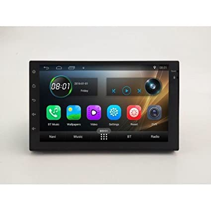 Hypersonic Android 7 1/GPS Navigation/Bluetooth and USB Touch Screen Full  HD Car Stereo with Car Rear View Camera (Medium, Black)