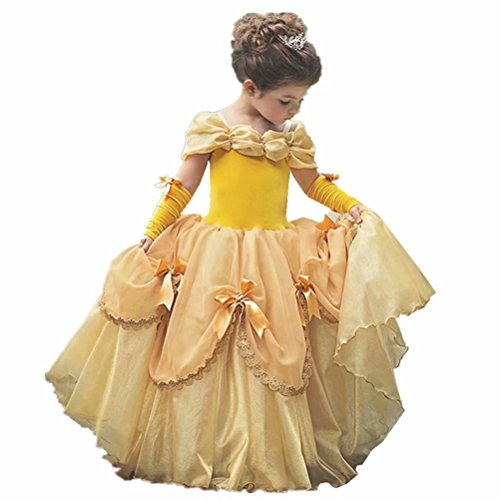Girls Princess Belle Costume Dress Up Yellow Gowns with Gloves for Christmas Party