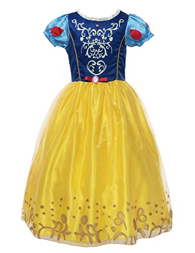 Sleeve Snow - MUABABY Little Girls Puff Sleeve Dress up Costume Snow White Princess Dress (130)