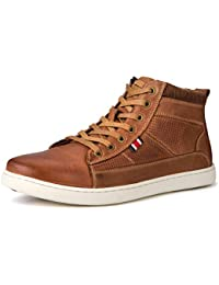 Men's High Top Leather Sneaker Casual Shoes Lace-up Blue/Brown