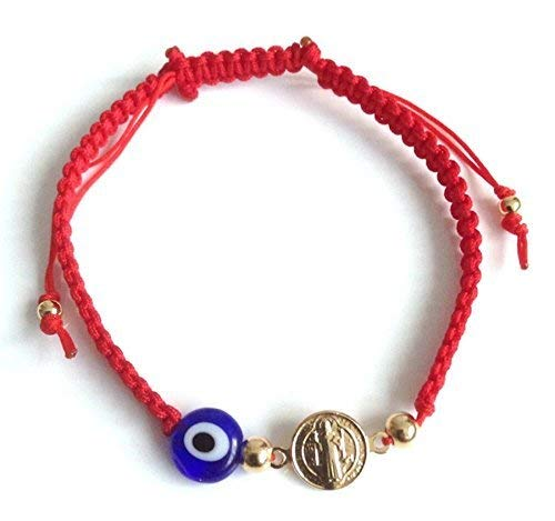 Red String Bracelet Kabbalah St Benedict Evil Eye Adjustable Mal de Ojo Protection Bracelet ()