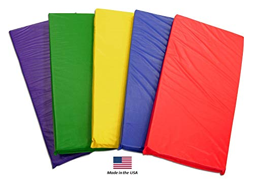 KinderMat Kids Rest Mats (5-Pack), Rainbow Designer, Non-Folding, 2-Inches Thick, 2
