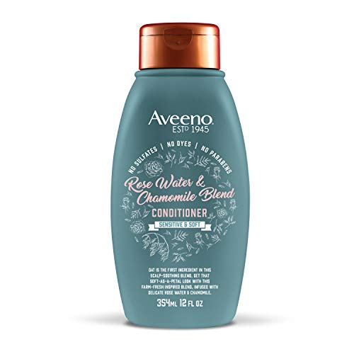 Aveeno Scalp Soothing Rose Water and Chamomile Blend Conditioner for Sensitive and Soft, Sulfate Free Conditioner, No Dyes or Parabens, 12 fl. oz