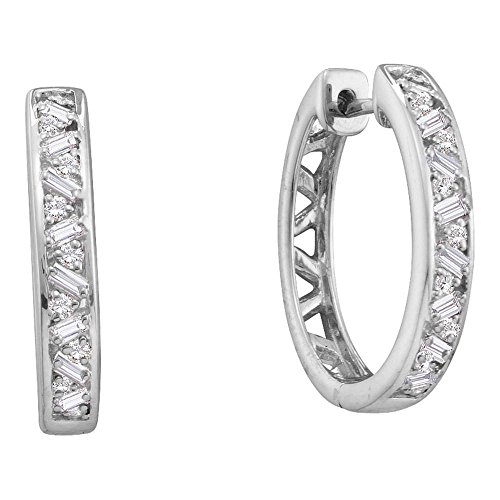 14k White Gold Round Baguette Diamond Hoop Earrings (1/2 Cttw) - Hoop Gold Diamond 14k Baguette