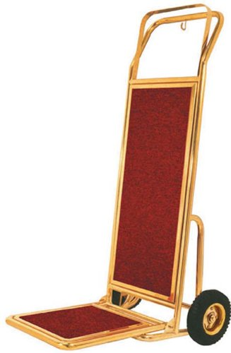 Aarco Products HT-2B Bellmans Hand Truck with Red Carpet Backing & Base - Brass Finish