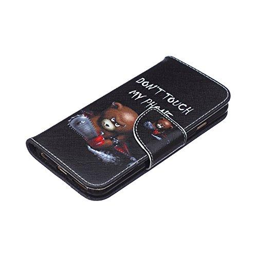 Funda iPhone 6/6S, Apple iPhone 6/6S Carcasa Funda Cuero [Pluma Libre] Apple iPhone 6/6S Case Book Estilo Libro billetera con correa de cordón Magnético Folio Flip Caso pata de cabra titular de la tar No toque mi teléfono