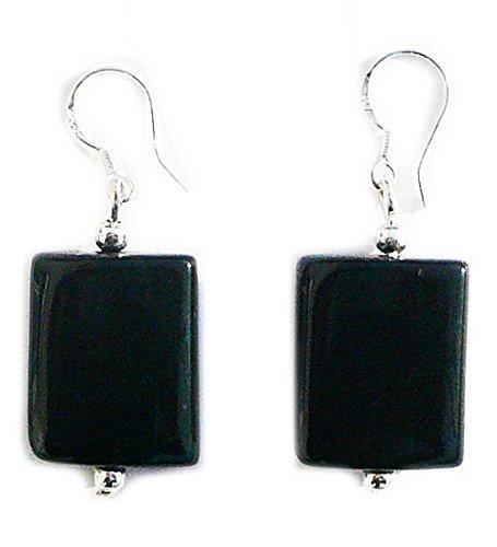 tion Rectangle Onyx Earrings on 925 sterling silver hooks ()