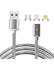 Lively Life Magnetic USB Charging Cable with Micro USB, USB Type C Connectors Nylon Braided 3 in 1 Charging Adapter Cable with LED Indicator for Most Type C Android Devices 3.3ft/1m