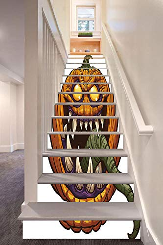 anselc05ls Halloween 3D Stair Riser Stickers Removable Wall Murals Stickers,Scary Pumpkin Monster Evil Character with Fangs Aggressive Cartoon,for Home Decor 39.3