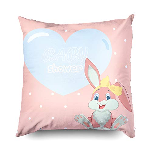 Shorping Zippered Covers Pillowcases 16X16 Inch Baby Shower Invitation Template Cute Children Background Pink Bunny Girl Bow Decorative Throw,Cushion Cover for Home Sofa Bedding (Pink Invitations Paisley Baby Shower)
