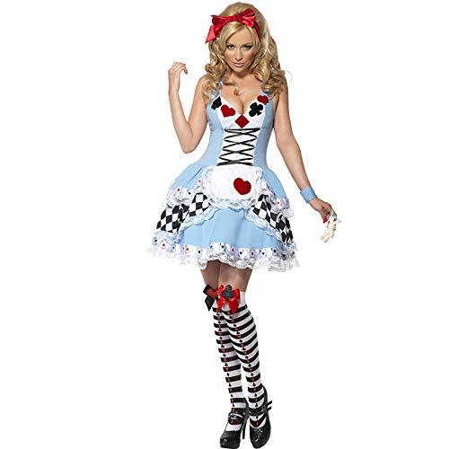 Kirei Ona Women's Overbust Corset Tight Maid wear Clown Waitress Uniform Back Zipper-The Munich Oktoberfest Costume Cosplay Halloween Dress,Blue,XS