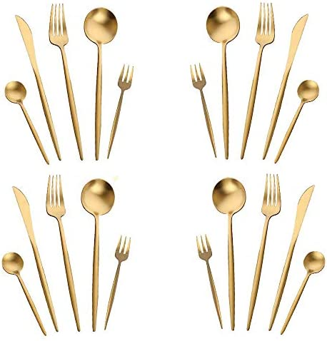 Vegan 4pc gold flatware I YAM VEGAN forks humane kitchen 2 spoons 24K Gold plated NewVtg Hand stamped WONKY Real photos Funny gift Wedding