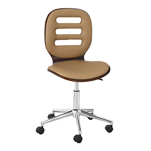 DecentHome Walnut Bentwood Hydrualic Adjustable 360 Degree Swivel Rolling Office Chair With Hollow Back Curval Seat, Beige Cushion, 6 Casters, Single Piece