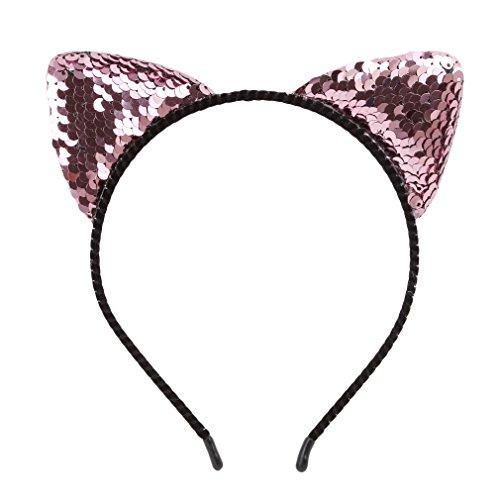 Dolland Glitter Cat Ears Headband for Girls Reversible Sequin Girls Headbands Kids Hair Hoop Headwear,Pink