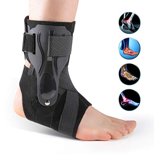 Ankle Brace for Women&Men, Lace Up Ankle Stabilizer Brace for Women,Volleyball Ankle Braces for Sprained Ankle Brace Supports Wrap for Women&Men for Running, Basketball,Football. (Black, One Size)