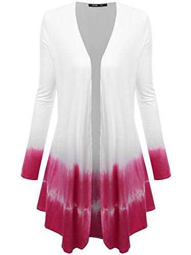 JayJay Women Summer Open Draped Front Long Sleeve Kimono Tie Dye Cardigan,White/Fuchsia,3XL