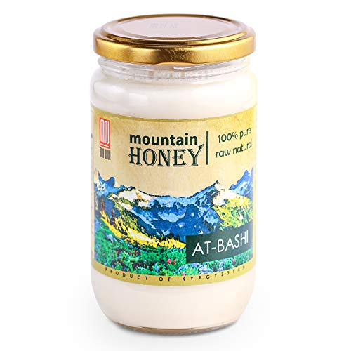 Pure Organic White Raw Honey (15.8 Ounce); Natural Wildflower Mountain Honey from Central Asia - Unheated & Unfiltered - Contains Natural Enzymes, Pollen & Propolis - by Mira Nova