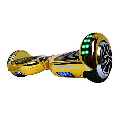 Hoverboard Two-Wheel Self Balancing Electric Scooter UL 2272 Certified, Metallic Chrome with Bluetooth Speaker and LED Light (Chrome Gold)
