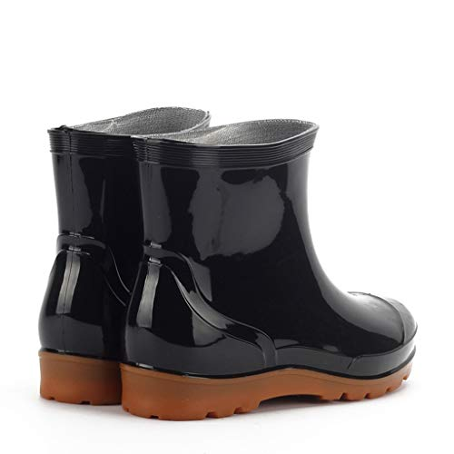 Men's Flat Low-Heeled Leisure Round Toe Shoes Waterproof Middle Tube Rain Boots Black