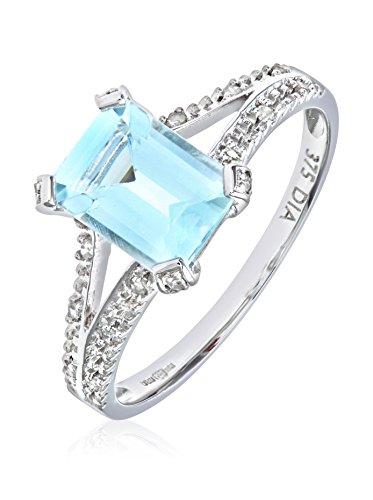 Revoni - Bague en or blanc 9 carats, aigue-marine taille émeraude et diamants