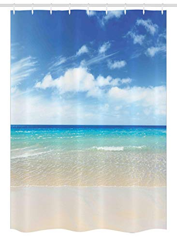 Ambesonne Ocean Stall Shower Curtain, Tropical Sandy Beach at Summer Sunny Day Holiday Vacation Theme Image Print, Fabric Bathroom Decor Set with Hooks 54 W x 78 L Inches, Ivory Aqua Blue