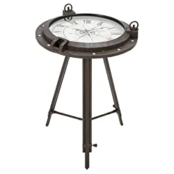 Urban Designs Industrial Porthole Metal Round Clock Coffee & End Table