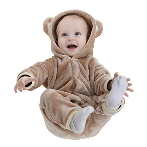IDGIRL Baby Girls Boys' Bear Footies Hooded Jumpsuit Spring & Autumn Romper Clothing, Brown, 100cm]()