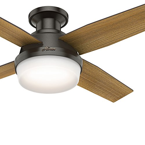 Hunter Fan 44 inch Contemporary Low Profile Ceiling Fan with LED Light and Remote Control in Noble Bronze Renewed