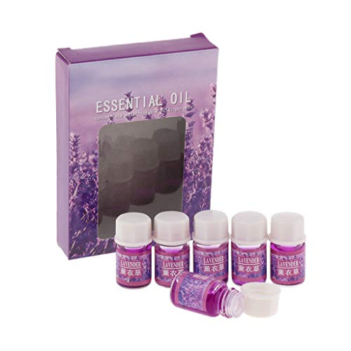 SM SunniMix Pack of 6 3ml Water Soluble Essential Oil Aromatic Perfume Diffuser Oils Set for Yoga SPA, Humidifier, Wardrobes etc. - Lavender