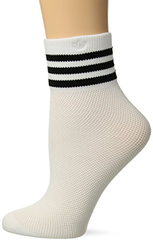 adidas Womens Originals Mesh Striped Ankle Socks (1-Pack), White/Black, Size 5-10