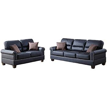 Amazon Com Poundex F7877 Bobkona Shelton Bonded Leather 2 Piece