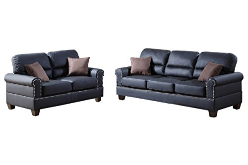 Poundex F7877 Bobkona Shelton Bonded Leather 2 Piece Sofa and Loveseat Set, Black (Set Poundex Loveseat)