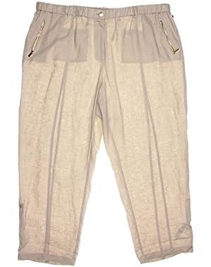 Calvin Klein Women's Wide Leg Linen Pants, Latte, 3X