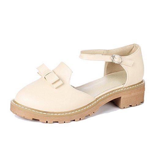 AllhqFashion Damen Niedriger Absatz PU Rein Schnalle Rund Zehe Pumps Schuhe Aprikosen Farbe