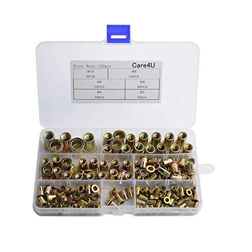 Care4U Rivet Nuts,Nut Insert,150-Pack Mixed Zinc Plated Carbon Steel Nutsert M3 4 5 6 8 10 ()