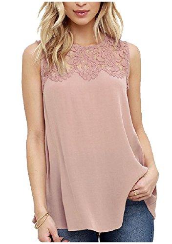 一月事巨人Nicellyer Women's Solid Colored Hollow Out Blouse Lace Vests Tank Tops