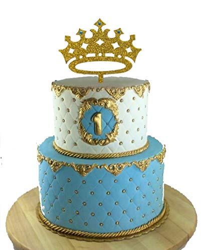([USA-SALES] Prince Crown Cake Topper, Boy Birthday King, First Birthday, It's A Boy Baby Shower Cake Topper, Gender Reveal Party Decoration, by Usa-Sales)