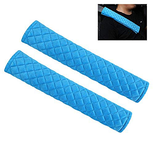 MLOVESIE 2 Packs Car Seat Belt Pads Plush Soft Seatbelt Cover Cushion Shoulder Strap Protector,30cm (Blue)