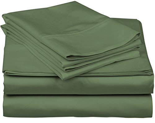 True Luxury 1000-Thread-Count 100% Egyptian Cotton Bed Sheets, 4-Pc King SAGE Green Sheet Set, Single Ply Long-Staple Yarns, Sateen Weave, Fits Mattress Upto 18'' Deep Pocket