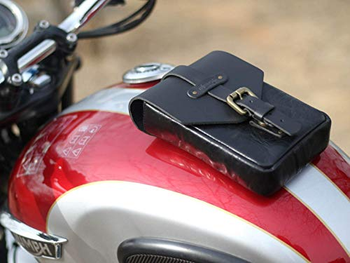 Trip Machine Company Leather Motorcycle Tank Pouch/Bag Matt Black