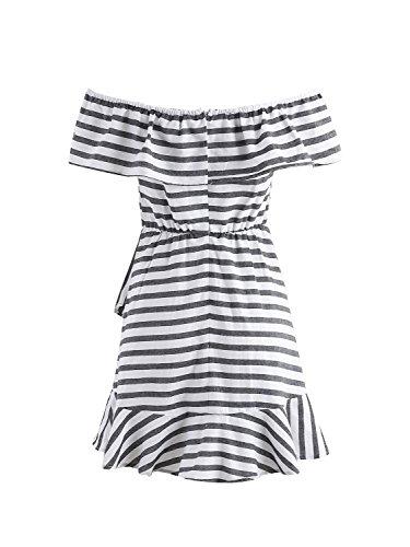 Simplee Women 's off - hombro Mini vestido a rayas de algodón a cuadros de manga corta con volantes Stripe