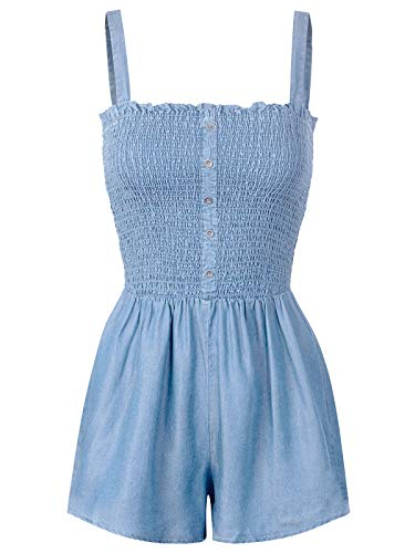 (Design by Olivia Women's Smocked Adjustable Strap Stretchy Short Chambray Jumpsuit Light Denim M)