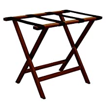 Wooden Mallet Deluxe Straight Leg Luggage Rack, Mahogany, Black Straps