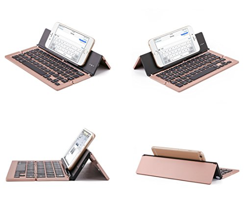Lucky2Buy Foldable Portable Bluetooth Wireless Keyboard with Kickstand Holder For iPhone, iPad, Andriod Smartphone and Windows Tablet - Rose Gold by Lucky2Buy (Image #2)