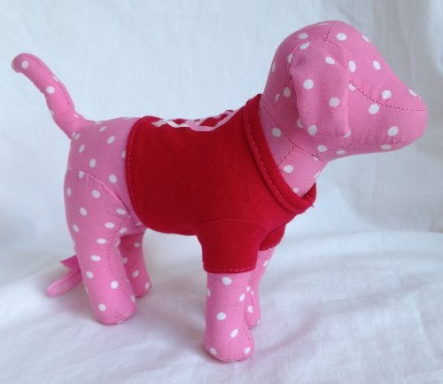 - Victoria's Secret Pink Polka Dot Dog in Red Peace & Heart Shirt