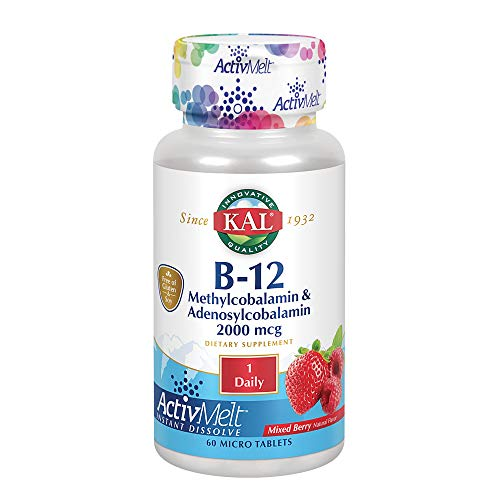 (Kal 2000 Mcg B-12 Dual Source Tablets, Mixed Berry, 60 Count )