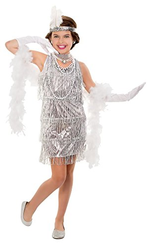 Silver Flapper Girls' Costume, Flapper Kids' Halloween Party Accessories, (Flapper Costumes Kids)