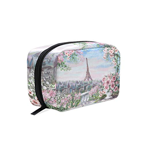 MAHU Vintage Eiffel Tower Rose Flower, Makeup Bag Travel Cosmetic Bag Women Toiletry Brushes Pouch Storage Bag Zipper Organizer Square Portable Holder Tool Case