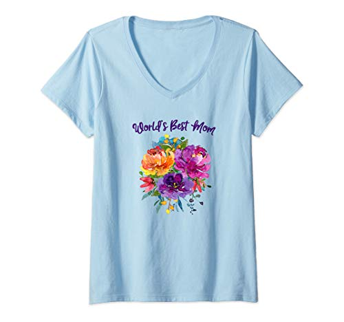Bouquet T-shirt Flower - Womens World's Best Mom Mothers Day Flower Bouquet V-Neck T-Shirt