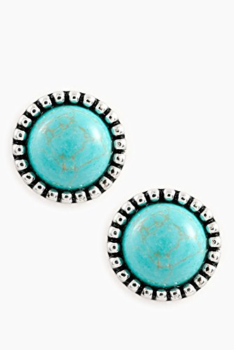Karmas Canvas Round Stone Dots frame Earring (Turquoise) (Necklace Trifari Chain)